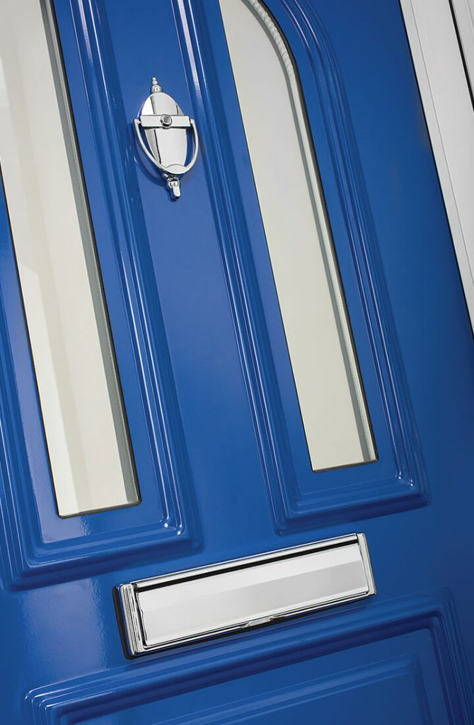 Blue aluminium front door