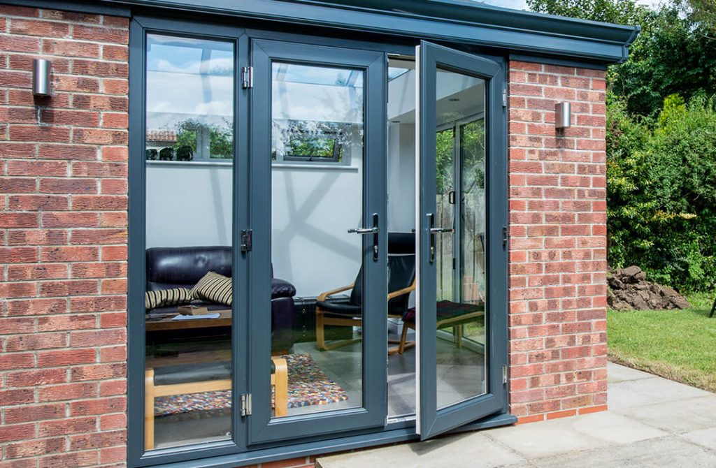 Grey uPVC french doors installation