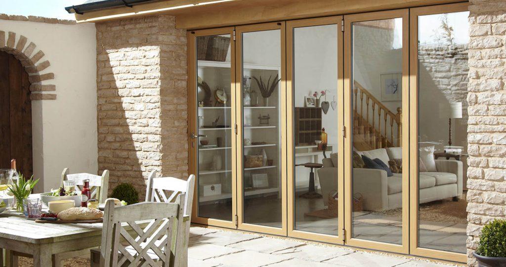 Oak effect aluminium bifold door