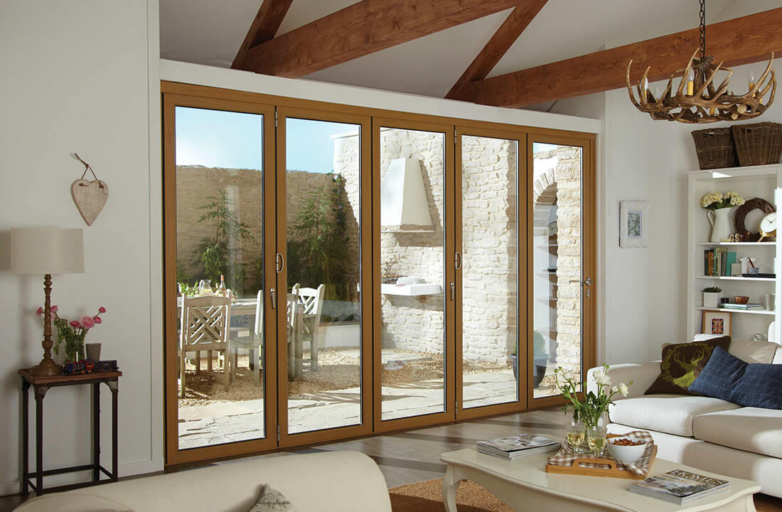 Oak effect bifold door interior view