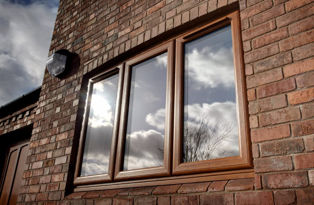 Golden oak effect uPVC casement window