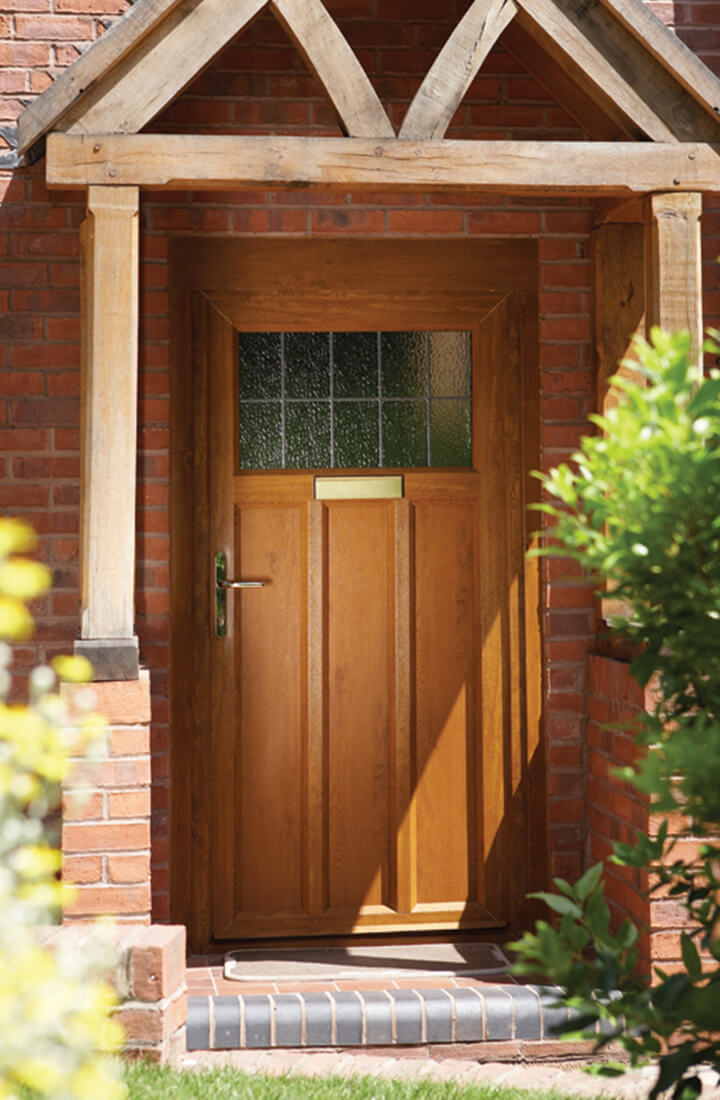 Golden oak effect uPVC front door