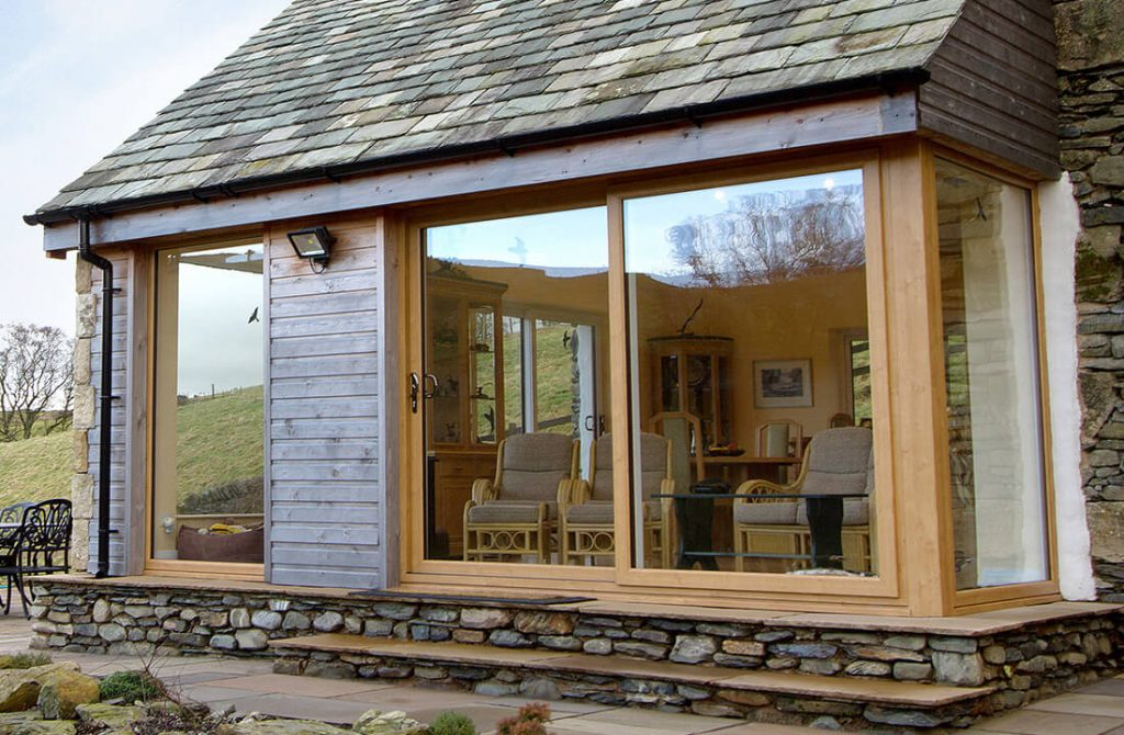 Light oak effect uPVC sliding patio door
