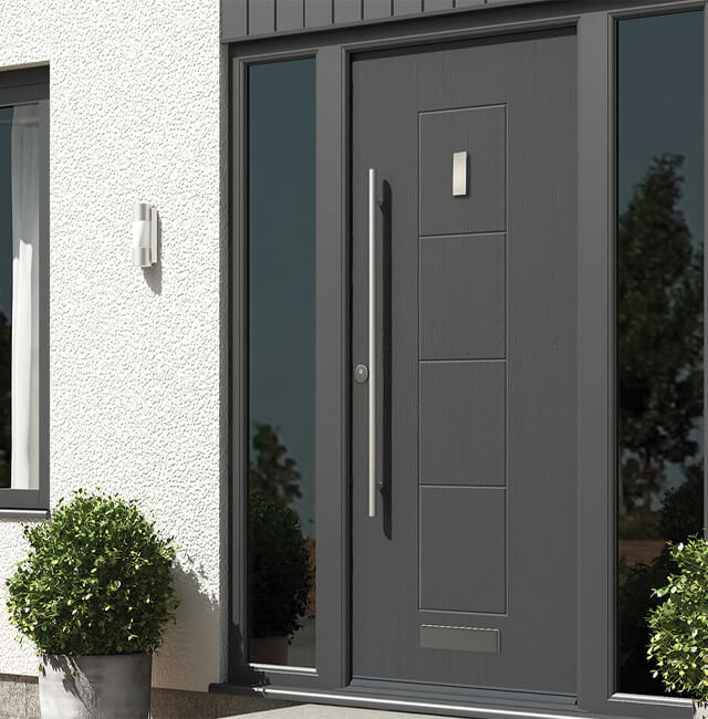 contemporary grey composite door