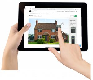 Ipad with home improvement app being used to update a home.